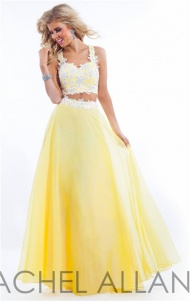 Color:Yellow/White Neckline:Sweetheart Material:Applique,Chiffon,Lace Rachel Allan 6832 two piece lace prom dress,features two straps,sweetheart neckline.