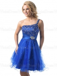 A-line One Shoulder Beading Sleeveless Short Tulle Prom Dresses / Homecoming Dresses