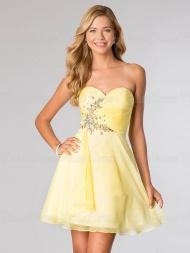 A-line Sweetheart Rhinestone Sleeveless Mini Chiffon Prom Dresses / Homecoming Dresses