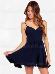 A-line Spaghetti Straps Ruffles Sleeveless Short Prom Chiffon Dresses / Homecoming Dresses