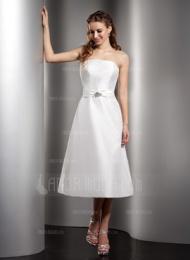 A-Linie/Princess-Linie Trägerlos Tee-Länge Taft Brautjungfernkleid mit Rüschen Perlen verziert