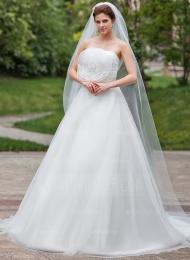 Forme Marquise Sans bretelle Traîne chappelle Organza Satiné Robe de mariée