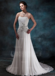A-linjeformat Hjärtformad Kapell Tåg Chiffong Bröllopsklänning med Rufsar Pärlbrodering Paljetter