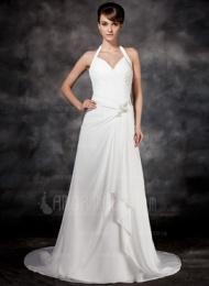 A-linjeformat Grimma Domstolen Tåg Chiffong Bröllopsklänning med Pärlbrodering Svallande Krås