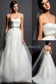 Romantic Special Sash Giving Off Elegance 2014 Newest White A-line Wedding Dress