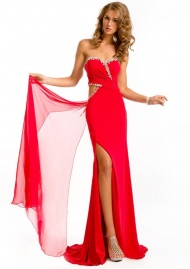 Glamorous Sheath Strapless Sweetheart Crystal And Pleated Chiffon Prom Gowns
