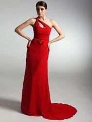 Chic Sheath/Column One-Shoulder Bowknot Sleeveless Floor-Length Dresses