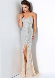 Long Fitted Sweetheart Beaded Side Slit Silver Nude Prom Dress