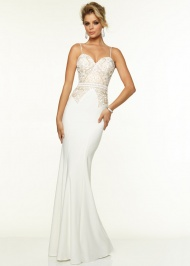 Fitted Long Sexy Back Sweetheart Vanilla Nude Prom Dress