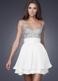 Cute Short Beaded Layered Chiffon White Short Dress For Prom