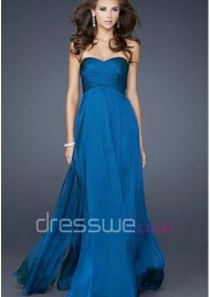 Captivating Floor-length Chiffon Sweetheart Neckline Ruffles A-line Long Formal Evening Dress UK