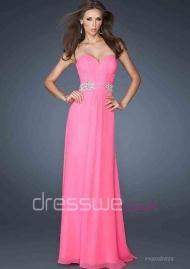 Bonny Pink Sweetheart Neckline Chiffon Beading Ruffles Princess A-line Evening Dress UK