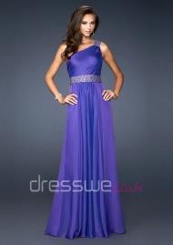 Boffo One Shoulder Neckline Princess Ruffles With Beading Crystal Long Formal Evening Dress UK