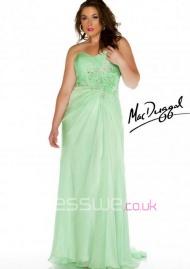 Bewitching Sweetheart Neckline Chiffon Ruffles Beading Handmade Flowers Summer Evening Dress UK