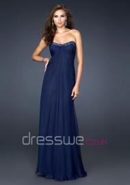 Bewitching Royal Blue Sweetheart Neckline Chiffon Beading Ruffles A-line Formal Evening Dress UK