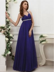 Junoesque Halter Sleeveless Chiffon Prom Dresses With Beaded
