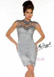 Sexy Short High Neck Ruffles Applique Beading Summer Cocktail Style Mother Of The Bride Dress UK