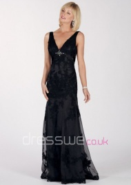 Sexy Black Mermaid Style Long Skirt With Delicate Lace V-neckline Beading Mother Of The Bride Dress UK