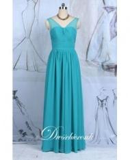 Teal Chiffon Floor Length Bridesmaid Dress With Sheer Shoulder