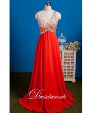 Red Chiffon One Shoulder Beaded Evening Gown With Open Back