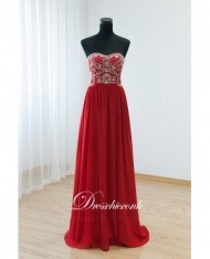 2015 Red Chiffon Beaded Strapless Long Party Dress