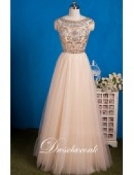 Champagne Tulle Beaded A Formal Gown With Cap Sleeves