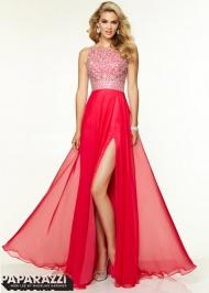 Long Hot Pink High Beaded Open Back Side Slit Chiffon Prom Dress