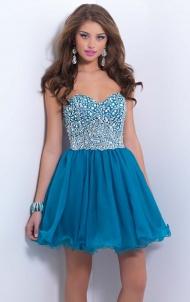 A-Line Blue Chiffon Strapless Empire Short Prom Dresses