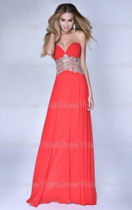 A-Line Strapless Beaded With Rhinestone Chiffon Long Prom Dresses