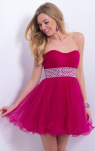 Red Tulle A-Line Strapless Waistband Mini/Short Prom Dresses