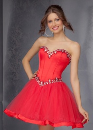 A Line Red Short Mori Lee 9287 Stones Beaded Homecoming Dress
