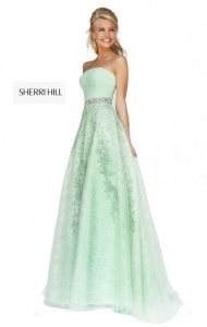 2014 Sherri Hill 11123 Green Beaded Ruched Bodice Strapless Dress