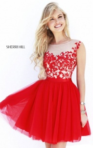 2014 Sherri Hill 11171 Red/Nude Sweetheart Bodice Dresses