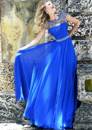 Beaded Royal Silver Chiffon Cap Sleeves Ruched Prom Dress 2015