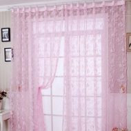 Pink Leaf Cute Dreamy Girls Room Beautiful Faux Silk Sheer Curtains