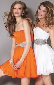 Color: Orange Sweetheart neck, strapless. Orange Leaf Sequin Waist Strapless Short Chiffon Dress. Sparkly leaf shaped sequin detail waistband. Strapless flowy mini dress. Pleated Orange chiffon dress.