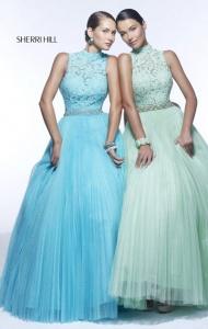 Sherri Hill 21334 Aqua Square Open-Back Floral Applique Party Dress