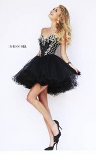 A-line Foxy strapless Sweetheart Black Sherri Hill 32066 Dress