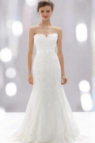 Slim Fitting Satin Lace Sleeveless Bridal Cheap Wedding Dress UK Online
