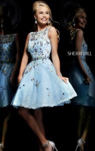 2015 Cheap High-Neck Sherri Hill 4305 Light Blue/Multi Short Jeweled Prom Dress