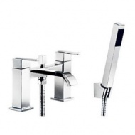 Centerset Double Handles Bridge Solid Brass Tub Faucet with Hand Shower - Chrome Finish--FaucetSuperDeal.com