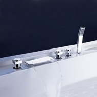 Brass Waterfall Tub Faucet with Hand Shower (Chrome Finish)--FaucetSuperDeal.com