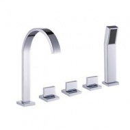 Brass Tub Faucet with Hand Shower - Chrome Finish--FaucetSuperDeal.com