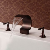 Antique Style Waterfall Oil-rubbed Bronze Two Handles Bathtub Faucet--FaucetSuperDeal.com