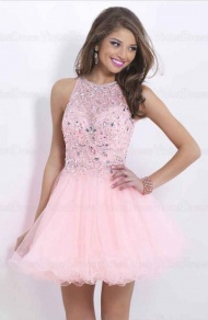 A-line Scoop Beading Sleeveless Short Tulle Cocktail Dresses / Homecoming Dresses