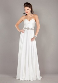Sweetheart-neck Strapless Floor-length Chiffon Prom Dresses Online Sale at GBP83.99