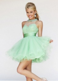 Short Light Green Beaded Collar Neck Lace Prom Dress 2015