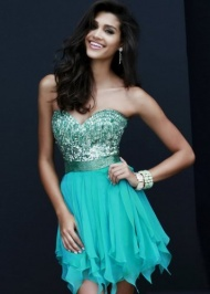 Short Strapless Ruffled Chiffon Beaded Teal Prom Dress