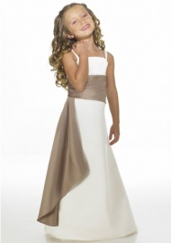 A-line Spaghetti Strap White And Brown Satin Flower Girl Dresses