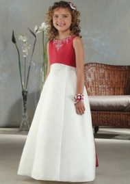 A-line Satin Embroidery Flower Girls Dresses